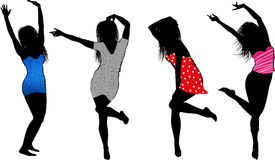 Fashion girl silhouettes Stock Photography