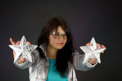 Fashion girl in silver jacket Royalty Free Stock Image