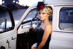Free Fashion Girl Sitting In Old Car Stock Photo - 27832110