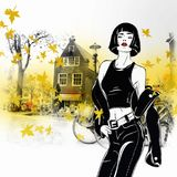 Fashion girl in sketch style in Amsterdam. Street fashion illustration Stock Images