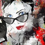 Fashion girl in sketch-style. Grunge illustration Stock Photos