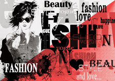 Fashion girl in sketch-style Stock Photo