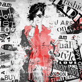 Fashion girl in sketch-style Royalty Free Stock Photo