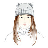 Fashion girl in sketch style. Hand drawn background with a pretty fashion girl in sketch style. Vector illustration. EPS 10 royalty free illustration