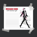 Fashion girl in sketch-style. Message card with fashion girl Stock Photo