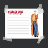 Fashion girl in sketch-style. Message card with fashion girl Stock Image