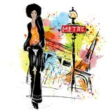 Fashion girl in sketch style on a street background. Royalty Free Stock Photo