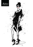Fashion girl in sketch-style. Retro poster. royalty free illustration
