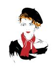 Fashion girl in sketch-style Royalty Free Stock Image