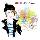 Fashion girl in sketch-style. Vector illustration Royalty Free Stock Photo
