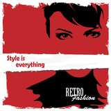 Fashion girl in sketch-style. Royalty Free Stock Photos