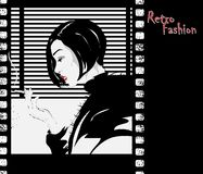 Fashion girl in sketch-style. Royalty Free Stock Image