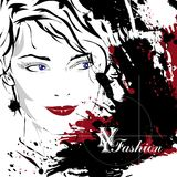 Fashion girl in sketch-style. Royalty Free Stock Photo