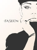 Fashion girl in sketch-style Royalty Free Stock Images