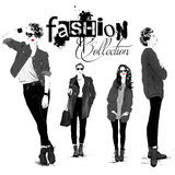 Fashion girl in sketch-style Royalty Free Stock Photography