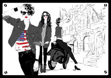 Fashion girl in sketch-style Royalty Free Stock Photos