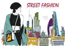 Fashion girl in sketch-style Stock Images