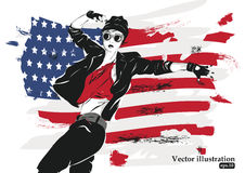 Fashion girl in sketch-style. Vector illustration Royalty Free Stock Photos
