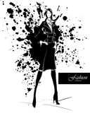 Fashion girl in sketch-style. Stock Photography
