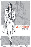 Fashion girl in sketch style. Vector illustration.Graphics Royalty Free Stock Photography