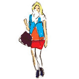 Fashion girl sketch Royalty Free Stock Photography