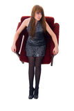 Fashion Girl In A Soft Chair. Stock Photo