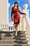 Fashion girl on the stairs Stock Image