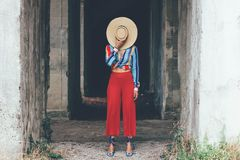 Fashion girl with straw hat royalty free stock images