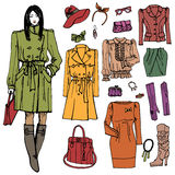 Fashion girl and street clothing set.Colored Stock Image