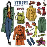 Fashion girl and street clothing set.Colored Stock Photography
