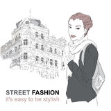 Fashion girl on the street. Vector illustration Stock Photography