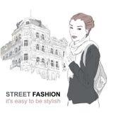 Fashion girl on the street. Vector illustration Stock Photography