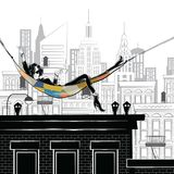 Fashion girl in style sketch in New York. Fashion girl in style sketch on the rooftop in New York Royalty Free Illustration