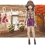 Fashion girl in stylish outfit stock illustration