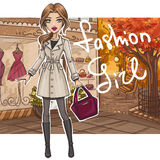 Fashion girl in stylish outfit royalty free illustration
