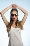 Fashion girl with sunglasses stock image
