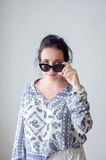 Fashion girl with in sunglasses. White background, not royalty free stock photos