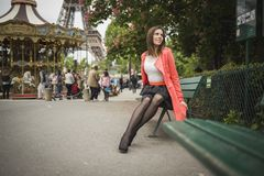 Fashion girl travelling in paris france Royalty Free Stock Photography