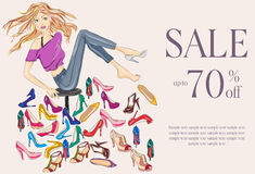 Fashion girl trying on several pairs of new shoes. Hand drawn illustration Background Stock Photos