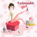 Fashion girl trying on shoes, and the kittens are playing near. Vector vector illustration