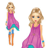 Fashion Girl In Tunic Goes Stock Images