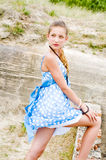 Fashion girl urbex location blue polka dress Stock Image