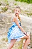 Fashion girl urbex location blue polka dress Stock Image