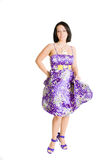 Fashion Girl In Violet Dress. Beautiful And Brunette Fashion Girl In Violet Dress stock photos