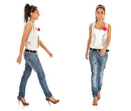 Fashion girl walking royalty free stock photo