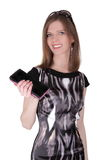 Fashion girl with wallet Royalty Free Stock Images