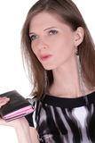 Fashion girl with wallet Royalty Free Stock Image