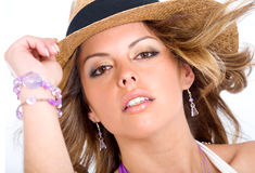Fashion girl wearing a hat Royalty Free Stock Images