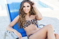 Fashion girl is wearing leopard bikini with Stock Image