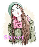Fashion girl wearing modern knit cap and jacket. Street style clothes. Sketch.